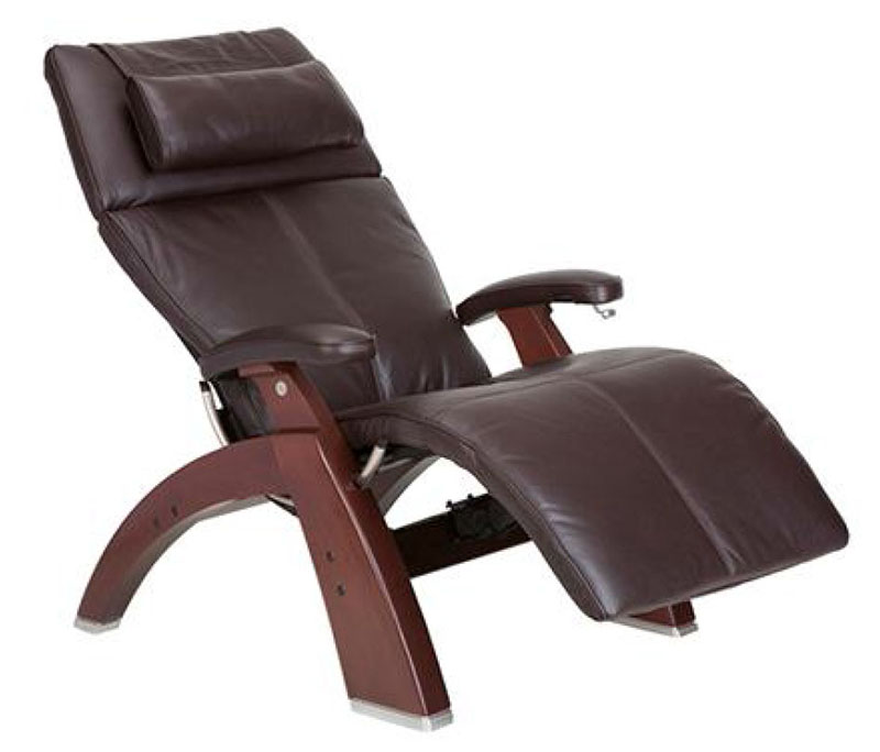 Espresso Top Grain Leather Chestnut Wood Base Series 2 Classic Perfect Chair  Zero Gravity Power Recliner