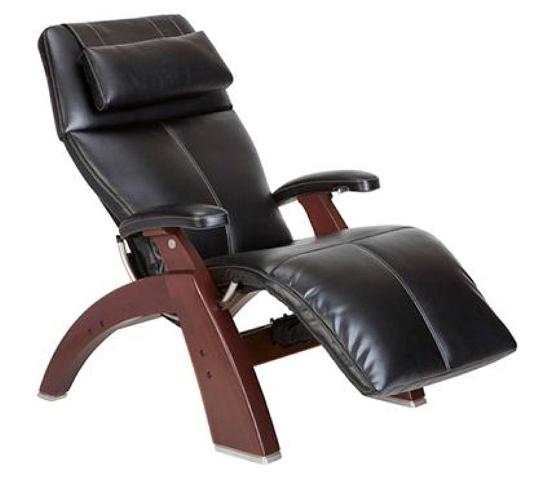 Black Top Grain Leather Chestnut Wood Base Series 2 Classic PC-610 Power Omni-Motion Perfect Chair Zero Gravity Power Recliner by Human Touch
