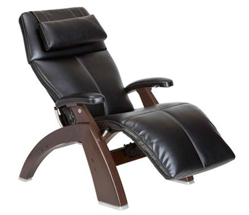 Black SofHyde Vinyl with a Dark Walnut Wood Base Series 2 Classic PC-610 Power Omni-Motion Perfect Chair Zero Gravity Power Recliner by Human Touch