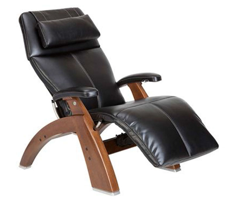 Black SofHyde Vinyl with a Walnut Wood Base Series 2 Classic PC-600 Power Silhouette Omni-Motion Perfect Chair Zero Gravity Power Recliner by Human Touch