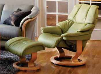 Stressless Reno Recliner Chair Reno in Paloma Green / Natural Wood Finish by Ekornes