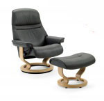 Stressless Sunrise Medium Recliner Chairs and Ottoman