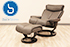 Stressless Magic Large Paloma Sand Leather Recliner Chair and Ottoman