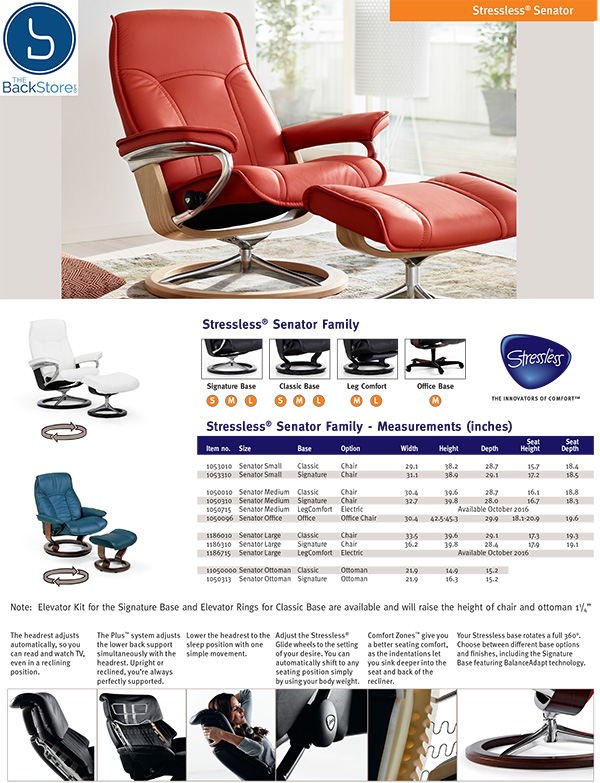 Stressless Senator Leather Recliner Chair and Ottoman by Ekornes