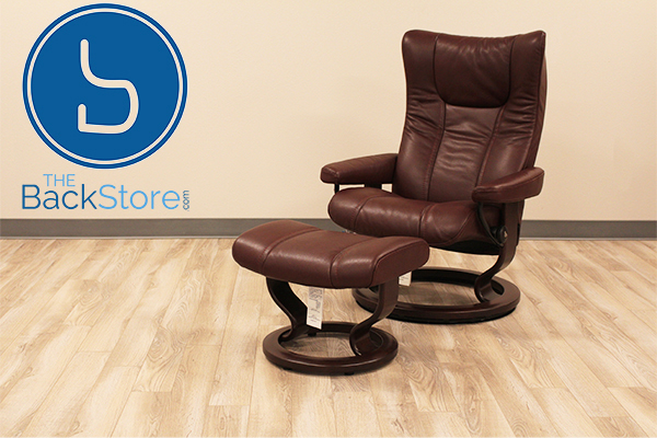 Stressless Wing Signature Base Recliner Chair and Ottoman in Cori Amarone