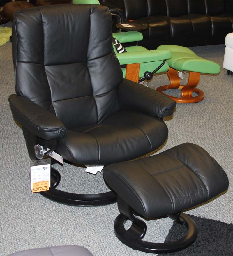 Stressless Paloma Black Leather Color Recliner Chair and Ottoman from Ekornes