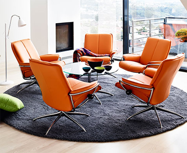 Stressless Paloma Clementine Orange Leather