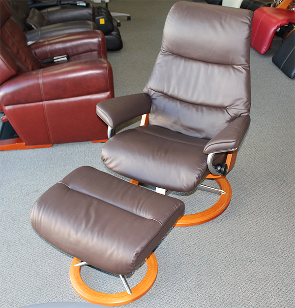 Stressless View Paloma Mocca Leather Recliner and Ottoman